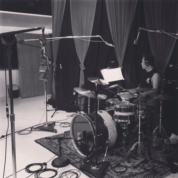 Drummer Tom McGeoch rocks the kit at Village Studios during our recording session.